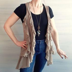 2/$30 ❤ H&M Long Flowy Ruffle Vest